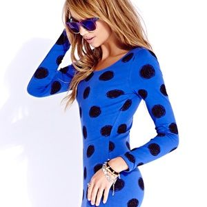 Women's Blue Standout Sketch Dot Bodycon Dress